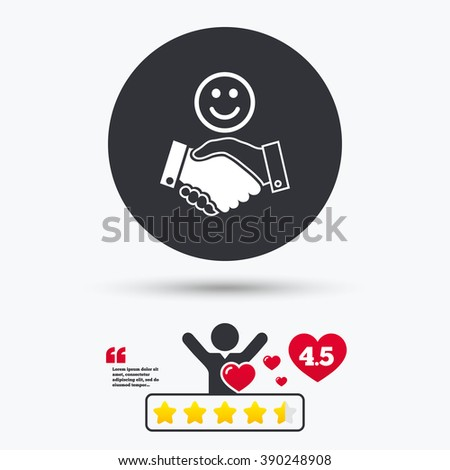 Handshake icon. Handshake flat symbol. Handshake art illustration. Handshake flat sign. Handshake graphic icon. Star vote ranking. Client or customer like. Quotes with message. - stock vector