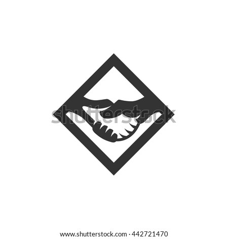 Handshake Icon isolated on a white background. Handshake Logo design vector template. Business Logotype concept icon. Symbol, sign, pictogram, illustration - stock vector - stock vector
