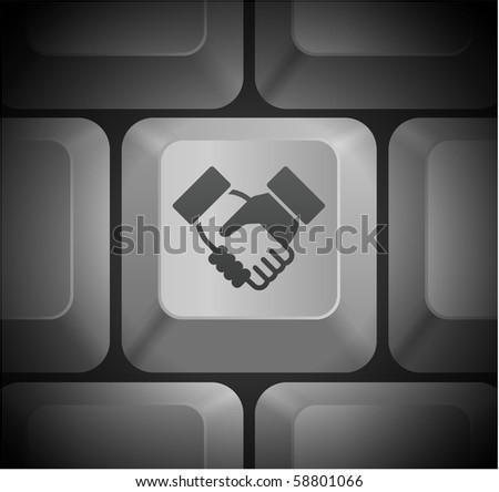 Handshake Icon on Computer Keyboard Original Illustration - stock vector