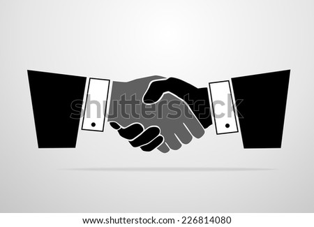 Handshake icon vector silhouette black business hands shake over gray background - stock vector