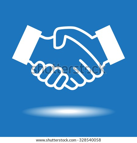 Handshake icon.  White icon on blue background - stock vector