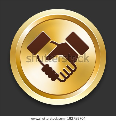 Handshake Icons on Gold Button Collection - stock vector