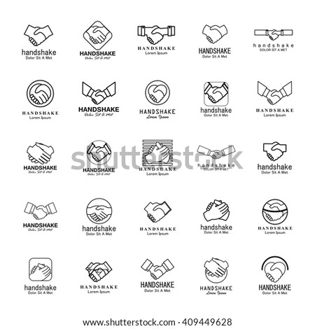 Handshake Icons Set-Isolated On White Background-Vector Illustration,Graphic Design - stock vector