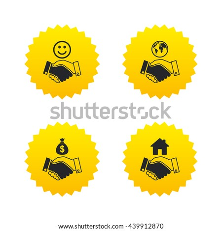 Handshake icons. World, Smile happy face and house building symbol. Dollar cash money bag. Amicable agreement. Yellow stars labels with flat icons. Vector - stock vector
