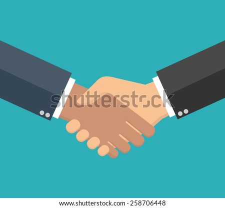 Handshake in flat style - stock vector