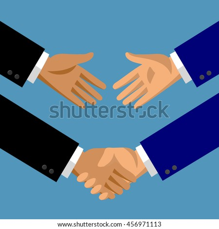 Handshake in flat style. Symbol and metaphor of business partnership. Vector illustration