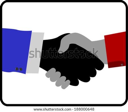 handshake isolated on white background  - stock vector