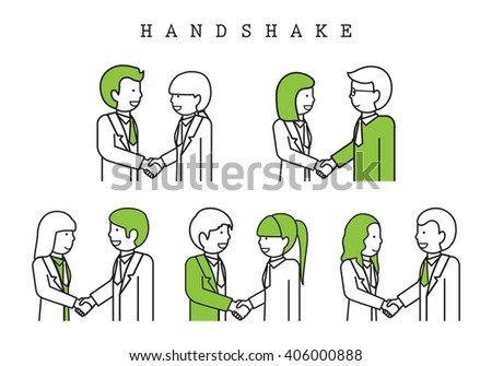 Handshake-Isolated On White Background-Vector Illustration,Graphic Design.Business Content For Web,Websites,Magazine Page,Print,Presentation Templates And Promotional Material.Businesspeople Thin Line - stock vector