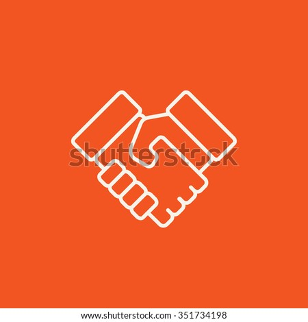 Handshake line icon for web, mobile and infographics. Vector white icon isolated on red background. - stock vector