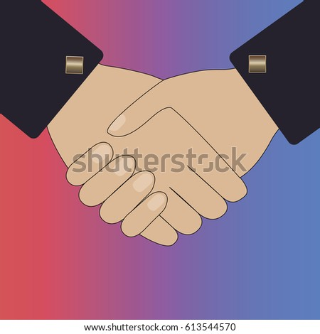Handshake of business people. Vector illustration for web design and marketing