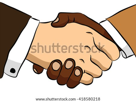 Handshake of two men. can be used for business or presentation, or business - stock vector