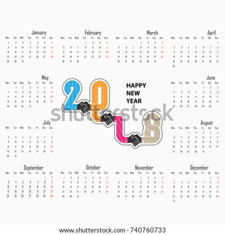 Handshake Sign And Happy New Year 2018 Background.Colorful Greeting Card  Design.Vector Illustration
