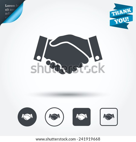 Handshake sign icon. Successful business symbol. Circle and square buttons. Flat design set. Thank you ribbon. Vector - stock vector