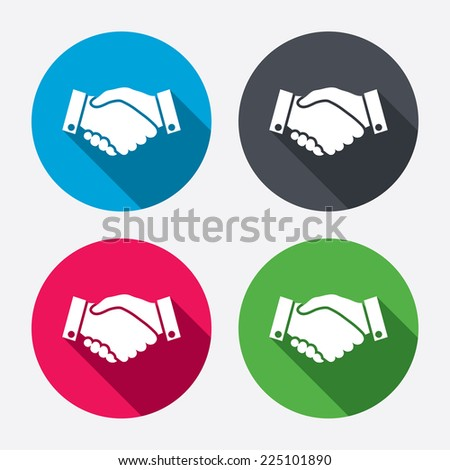 Handshake sign icon. Successful business symbol. Circle buttons with long shadow. 4 icons set. Vector - stock vector