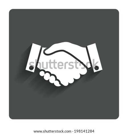 Handshake sign icon. Successful business symbol. Gray flat button with shadow. Modern UI website navigation. Vector - stock vector