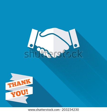 Handshake sign icon. Successful business symbol. White flat icon with long shadow. Paper ribbon label with Thank you text. Vector - stock vector