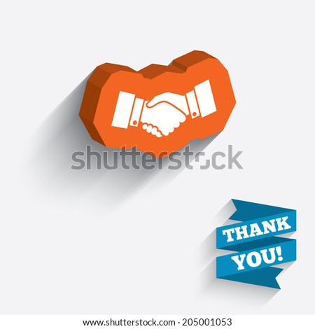 Handshake sign icon. Successful business symbol. White icon on orange 3D piece of wall. Carved in stone with long flat shadow. Vector