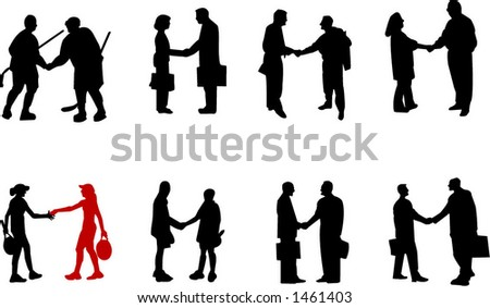 handshake situation silhouettes