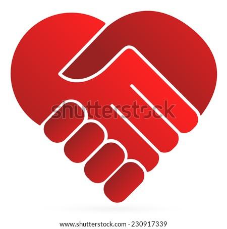 handshake symbol forming heart stock vector 230917339