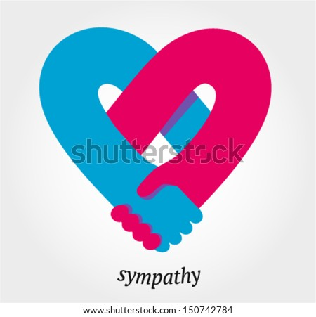 Handshake sympathy, love and friendship concept, vector illustration - stock vector