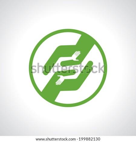 Handshake, Teamwork Hands Logo. Vector illustration. - stock vector