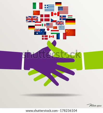Handshake, Teamwork Hands Logo with flags background. Vector illustration. - stock vector