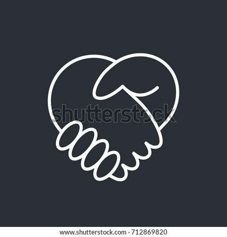 handshake heart love icon stock vector 640526392