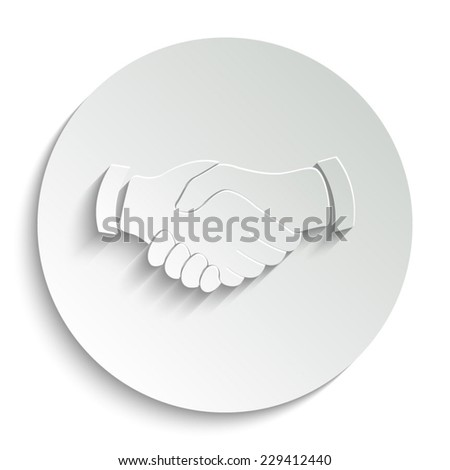 handshake -  vector icon with shadow on a round button - stock vector