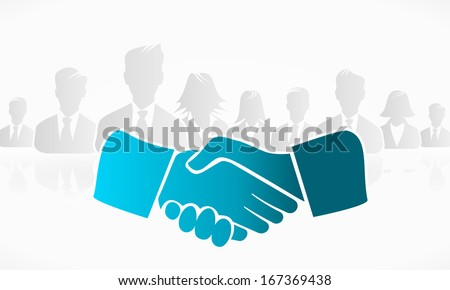 Handshake with a group of people in the background - stock vector