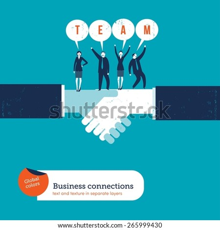 Handshake with businesspeople saying team. Vector illustration Eps10 file. Global colors. Text and Texture in separate layers. - stock vector