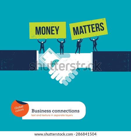 Handshake with 100 dollar bill. Vector illustration Eps10 file. Global colors&layers. - stock vector