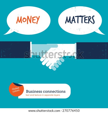 Handshake with speech bubbles money matters. Vector illustration Eps10 file. Global colors. Text and Texture in separate layers. - stock vector