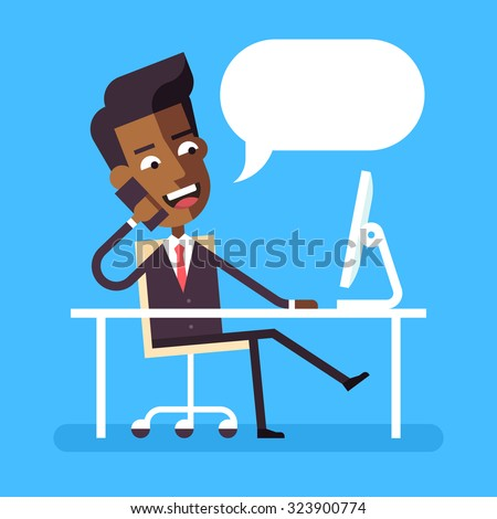 Handsome african american manager in formal suit sitting legs crossed at the desk with a computer and talking on cell phone. Cartoon character - african businessman. Vector illustration style flat.  - stock vector