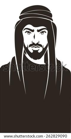 handsome arabian man, vector background - stock vector