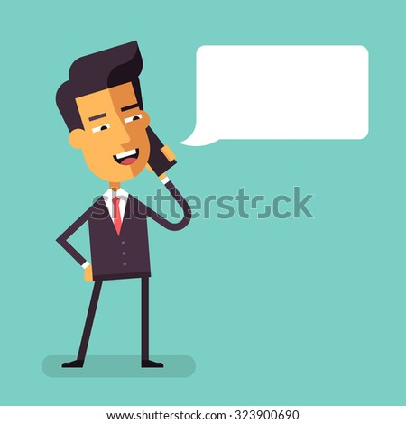 Handsome asian businessman in formal suit talking on the phone. Manager talking on cell phone. Cartoon character - cute asian businessman. Vector illustration in flat design. - stock vector
