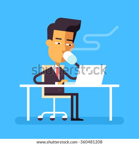 Handsome asian man in formal suit is sitting at the desk with a laptop and drinking hot beverage. Cartoon character - businessman. Stock vector illustration in flat design.