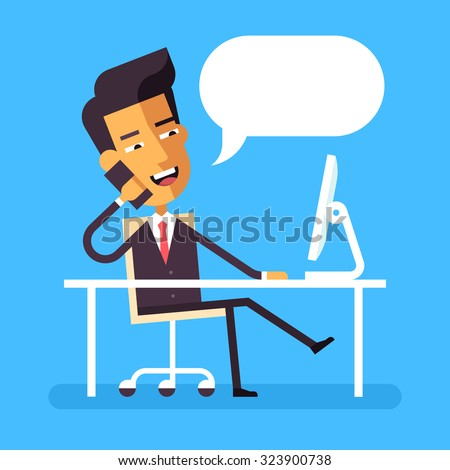 Handsome asian manager in formal suit sitting legs crossed at the desk with a computer and talking on cell phone. Cartoon character - asian businessman. Stock vector illustration style flat.  - stock vector