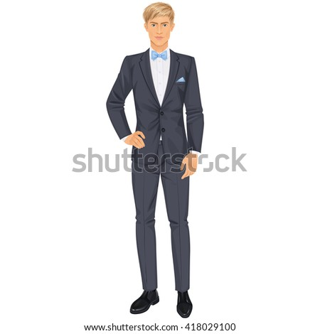 Handsome blonde man with clothes, elegant suit dressed on wedding or prom party, paper doll . Vector illustration.