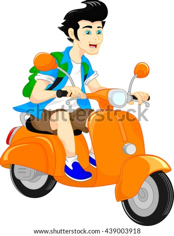handsome boy riding scooter - stock vector
