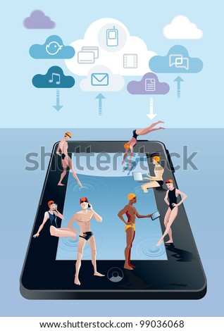Handsome boys and girls around a pool in digital tablet form. They spend free time while at the same time remain connected to Internet with their mobile phones, tablets and notebooks. - stock vector