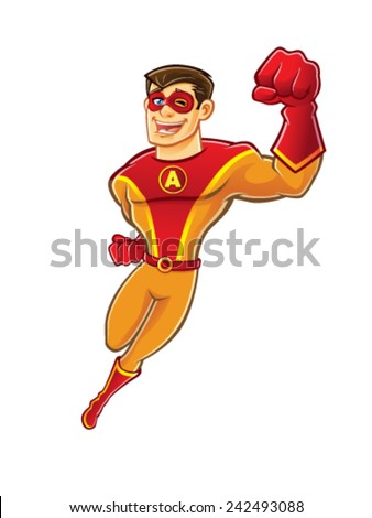 handsome cartoon superhero wearing a mask is flying while blinking and laughing happily - stock vector