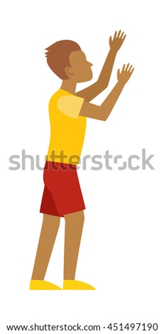 Handsome excited man happy smile, raised hands arms up palms, young guy casual wear, full length isolated on white. Man hands up guy gesture showing success. Celebration man hand up concept. - stock vector