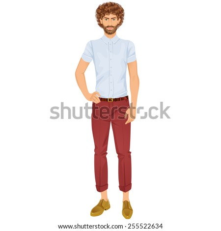 Handsome guy with beard. Isolated vector illustration. - stock vector