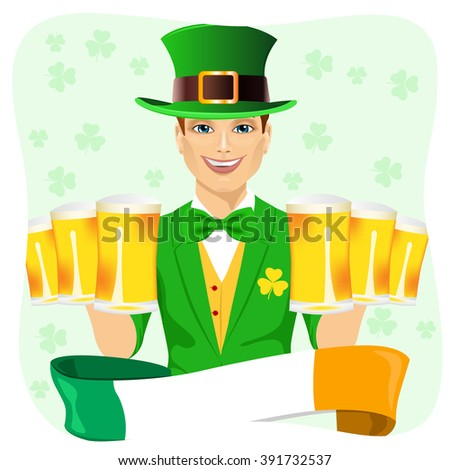 handsome man dressed as leprechaun celebrating Saint Patrick day holding six golden beer mugs with irish ribbon