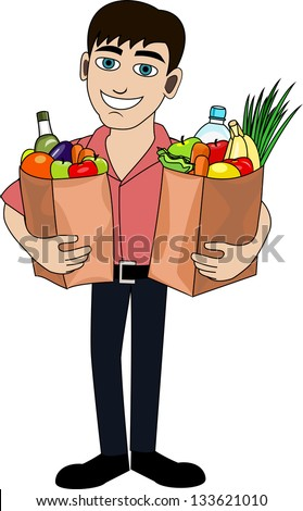 Handsome man is holding a bag full of healthy food. Shopping