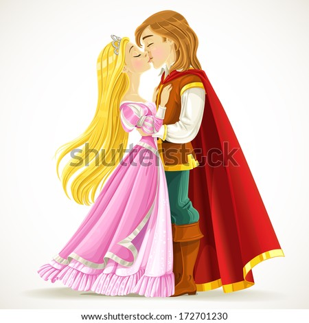 Handsome prince kisses the princess - stock vector