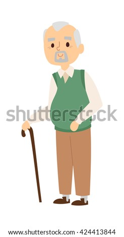 Handsome senior man in white striped shirt and grandad portrait suspenders with calm expression. Grandad portrait folded arms crutch and grandad portrait with wooden staff vector character. - stock vector