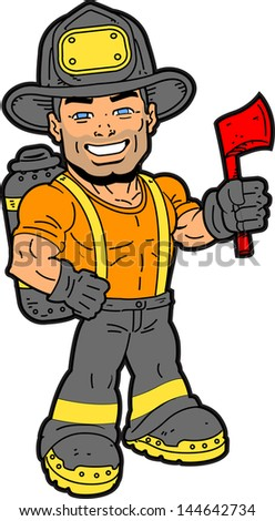 Handsome Smiling Fireman Holding an Axe - stock vector