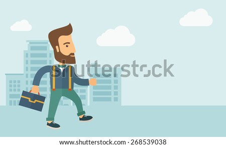 Handsome, young and good looking man positively walking through the city streets to attend a business meeting carrying a briefcase. Business concept. A contemporary style with pastel palette, soft - stock vector
