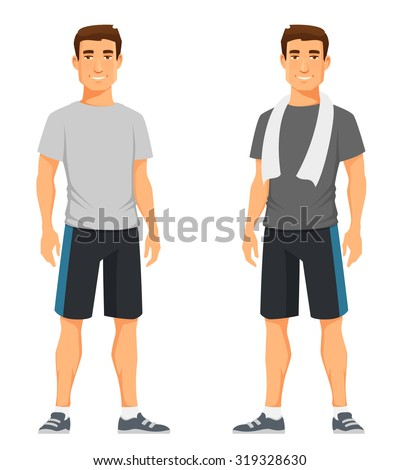 handsome young guy in fitness outfit - stock vector